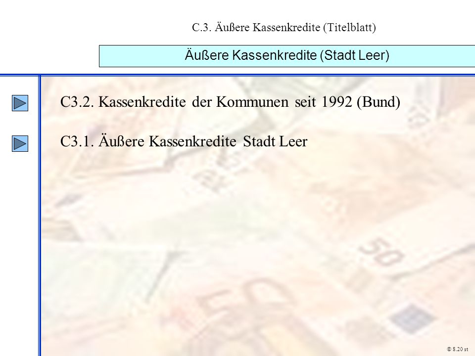 C.3. Äußere Kassenkredite (Titelblatt) Äußere Kassenkredite (Stadt Leer) C3.2. Kassenkredite der Kommunen seit 1992 (Bund) C3.1. Äußere Kassenkredite