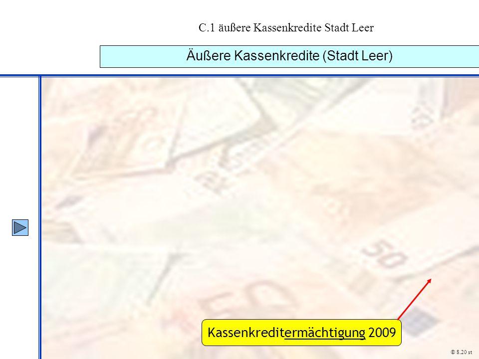 C.1 äußere Kassenkredite Stadt Leer Äußere Kassenkredite (Stadt Leer) © 8.20 st Kassenkreditermächtigung 2009