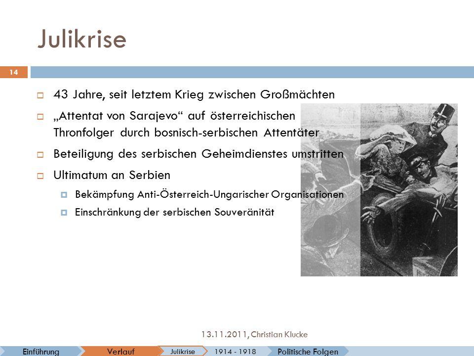 Julikrise Politische FolgenVerlaufEinführung Julikrise 1914 - 1918 14 13.11.2011, Christian Klucke  43 Jahre, seit letztem Krieg zwischen Großmächten