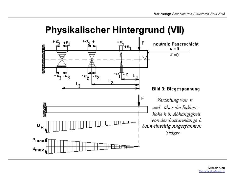 Mihaela Albu Mihaela.albu@upb.ro Vorlesung: Sensoren und Aktuatoren 2014-2015 Physikalischer Hintergrund (VIII) Die Dehnung  ist das Verhältnis der Längenänderung  l zur ursprünglichen Länge l 0 bei einer Spannung  : linear elastisches Verhalten gilt nur bis zu einer Grenze  p >  Jeder Werkstoff hat einen anderen E-Modul.