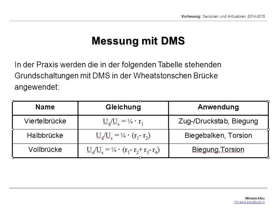 Mihaela Albu Mihaela.albu@upb.ro Vorlesung: Sensoren und Aktuatoren 2014-2015 In der Praxis werden die in der folgenden Tabelle stehenden Grundschaltu