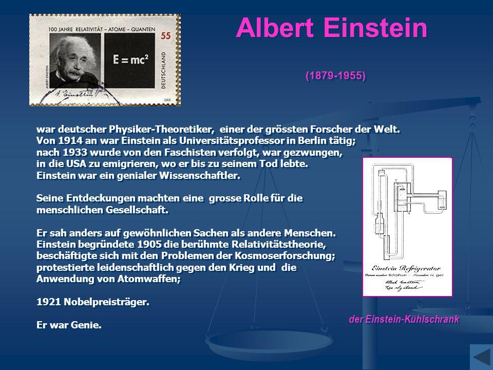 Albert Einstein (1879-1955) war deutscher Physiker-Theoretiker, einer der grössten Forscher der Welt. Von 1914 an war Einstein als Universitätsprofess