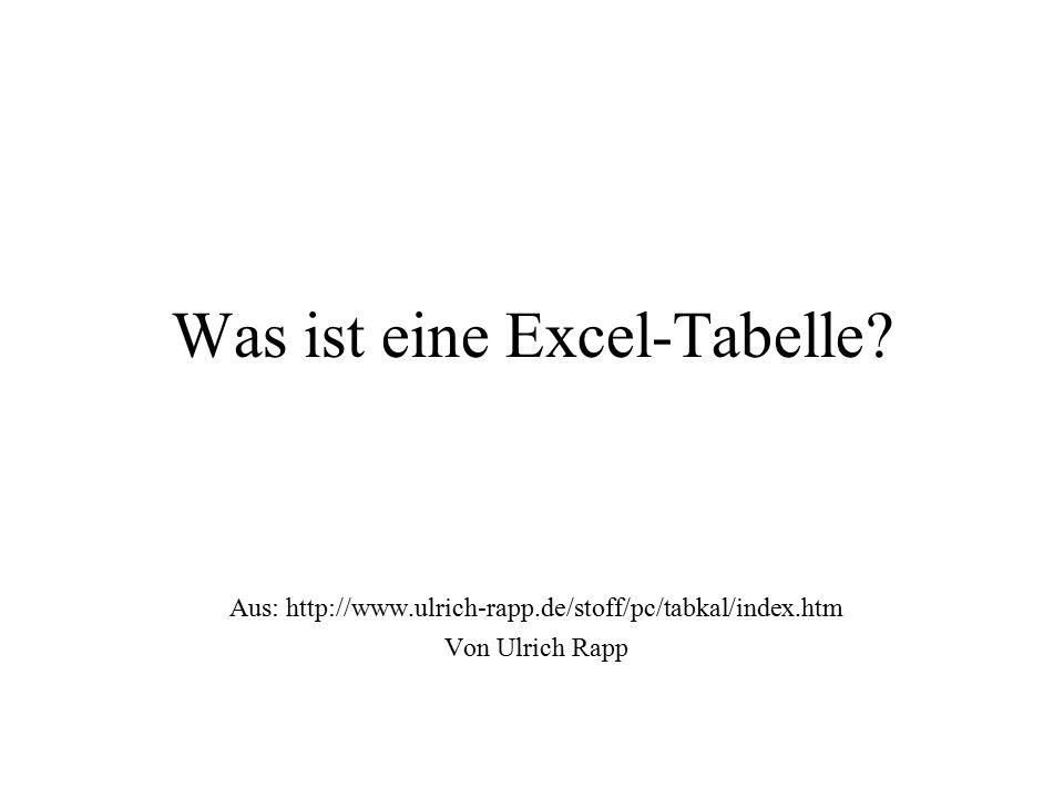 Was ist eine Excel-Tabelle? Aus: http://www.ulrich-rapp.de/stoff/pc/tabkal/index.htm Von Ulrich Rapp