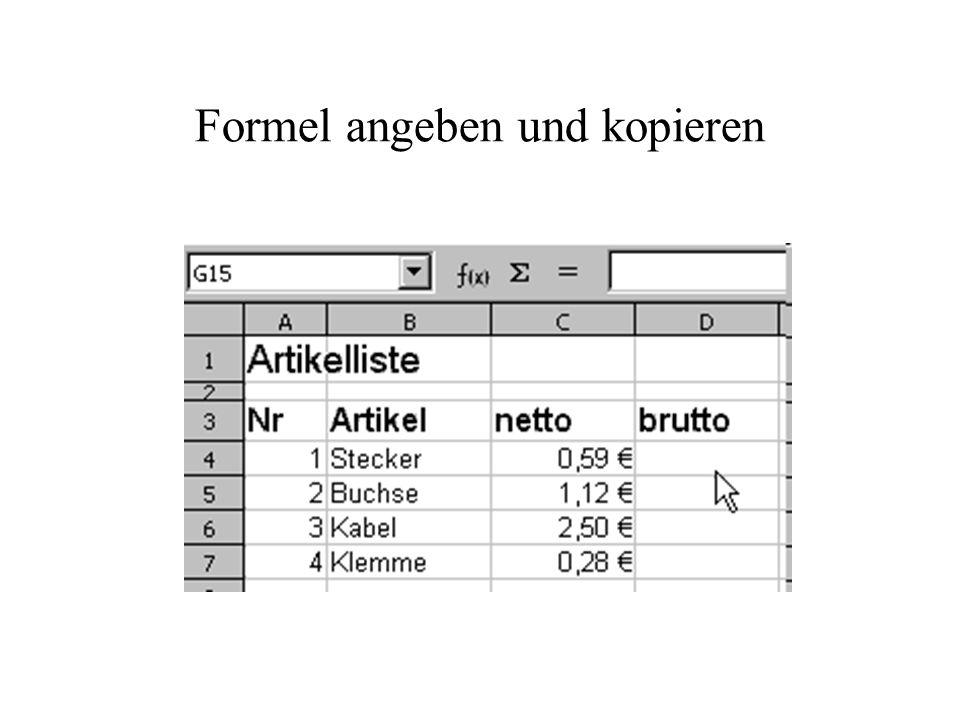 Formel angeben und kopieren