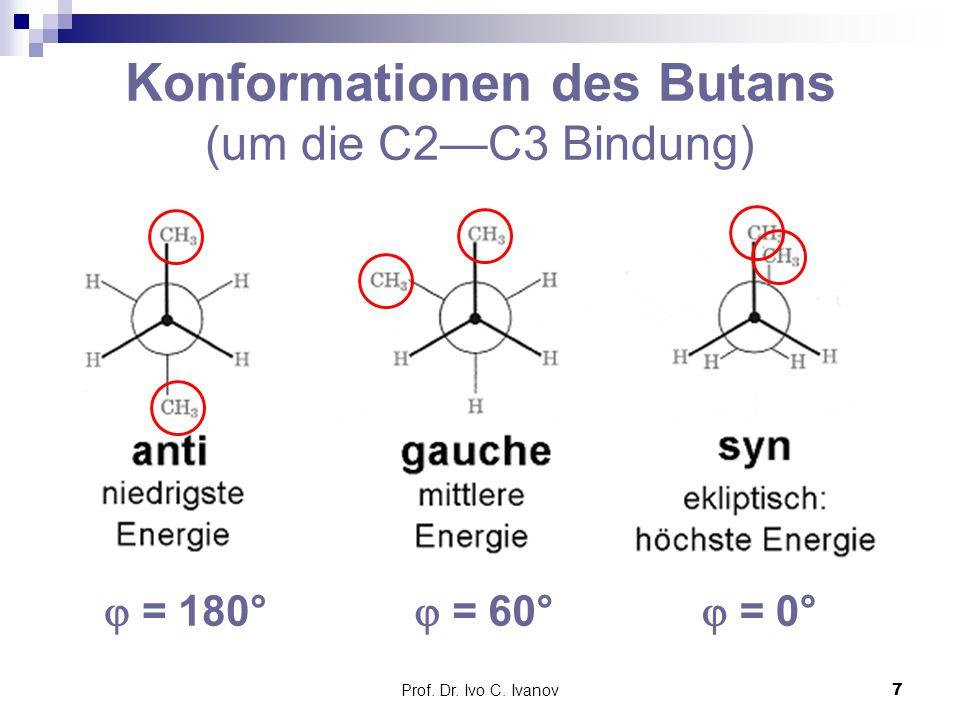 Prof. Dr. Ivo C. Ivanov7 Konformationen des Butans (um die C2—C3 Bindung)  = 180°  = 60°  = 0°