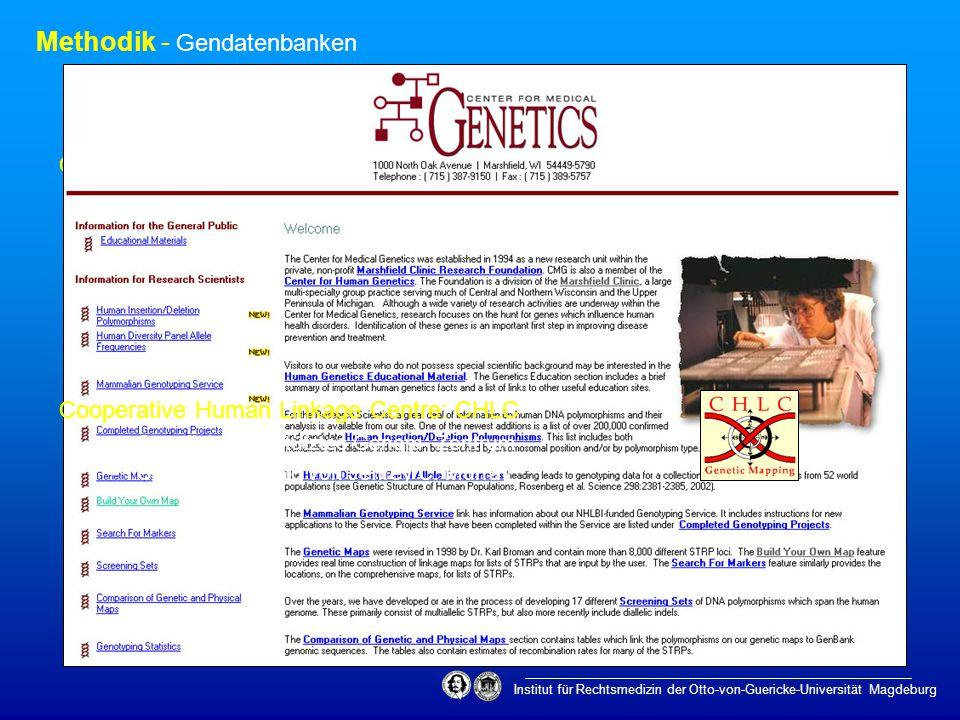 Methodik - Gendatenbanken Institut für Rechtsmedizin der Otto-von-Guericke-Universität Magdeburg Center for Medical Genetics: CFMG –1994 als Teil der