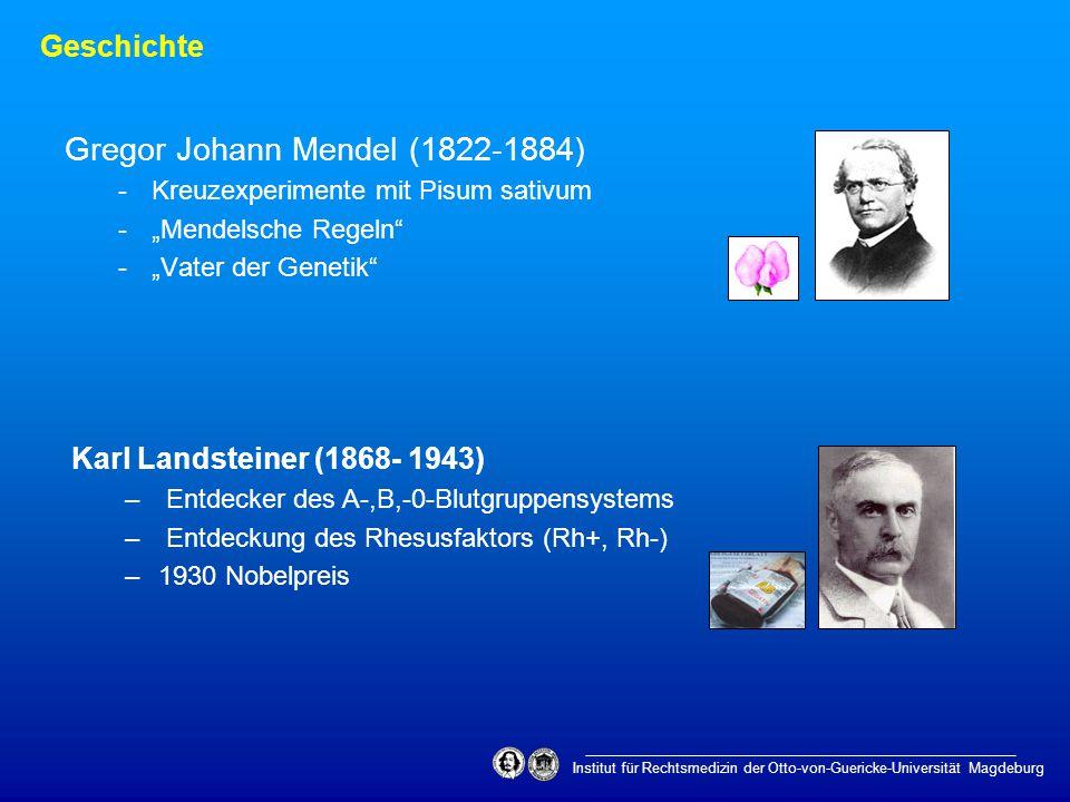 "Gregor Johann Mendel (1822-1884) -Kreuzexperimente mit Pisum sativum -""Mendelsche Regeln"" -""Vater der Genetik"" Geschichte Institut für Rechtsmedizin d"