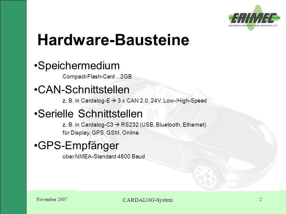 November 2007 CARDALOG-System 13 WinDat-Software Online: Eine online-Verbindung zum PC kann wichtig sein.