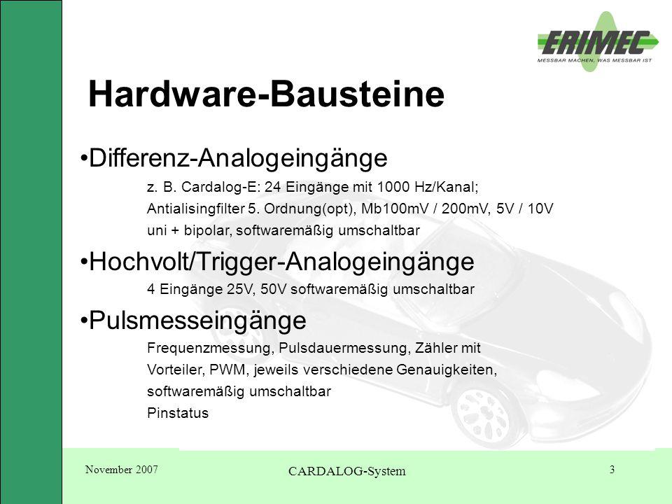 November 2007 CARDALOG-System 14 Cardalog-System Resumé -kompakt + leicht -schneller Einbau -universell einsetzbar -viele Kanäle -hohe Abtastrate -schnelle Parametrierung + -Auswertung -Online-Berechnungen