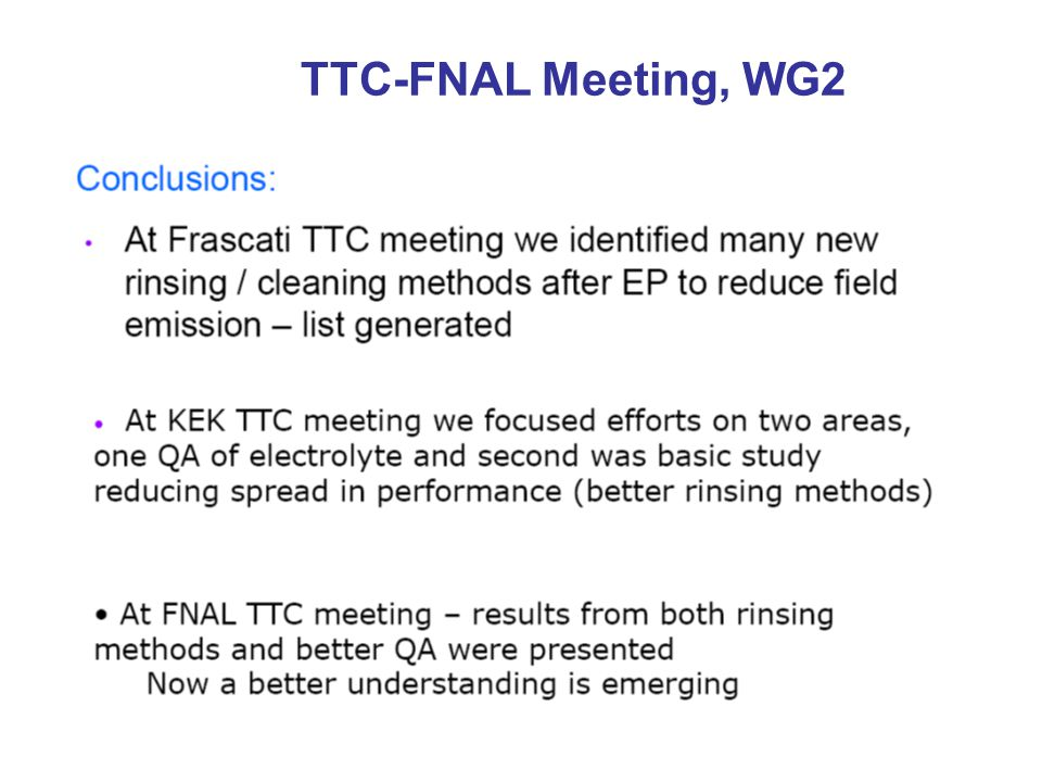 TTC-FNAL Meeting, WG2