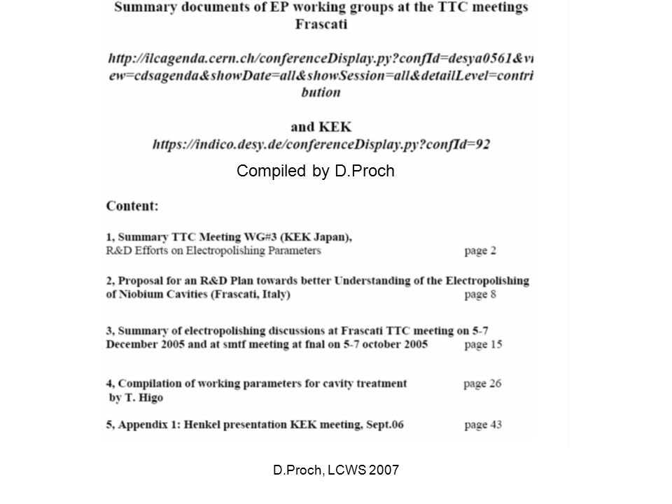 D.Proch, LCWS 2007 Compiled by D.Proch