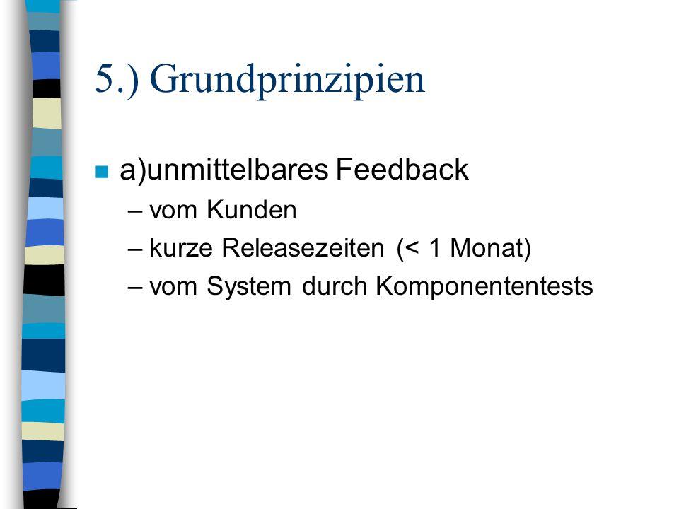 5.) Grundprinzipien n a)unmittelbares Feedback –vom Kunden –kurze Releasezeiten (< 1 Monat) –vom System durch Komponententests
