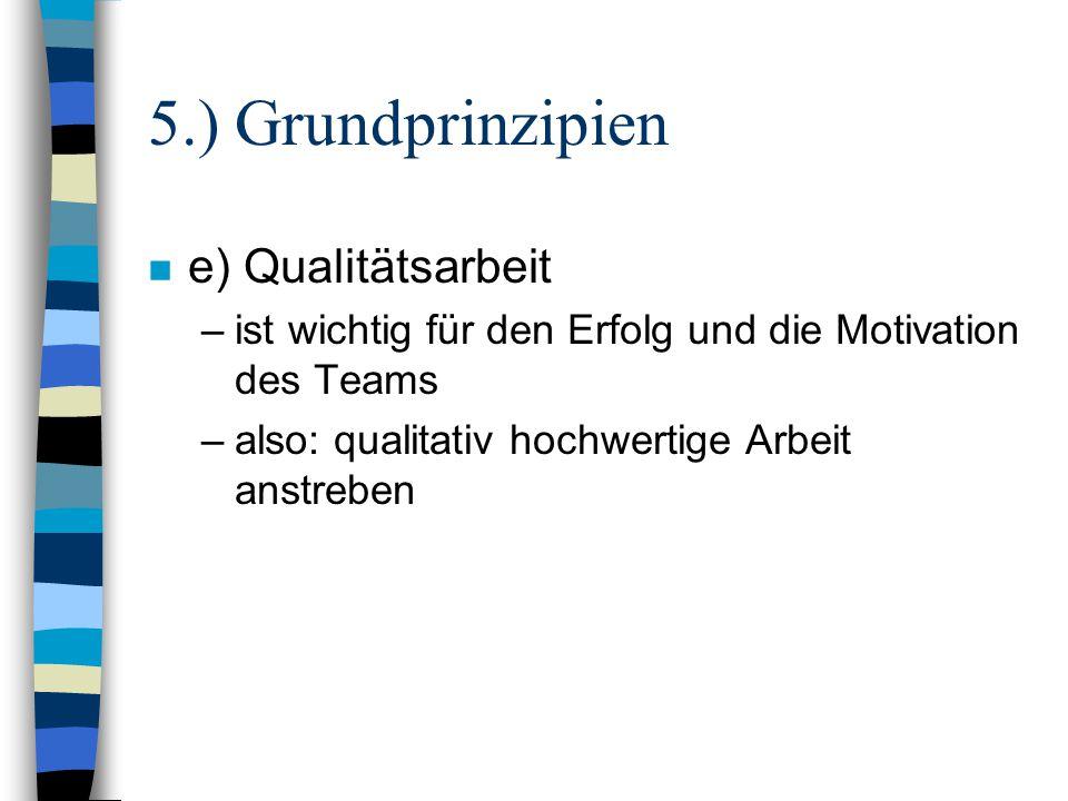 5.) Grundprinzipien n e) Qualitätsarbeit –ist wichtig für den Erfolg und die Motivation des Teams –also: qualitativ hochwertige Arbeit anstreben