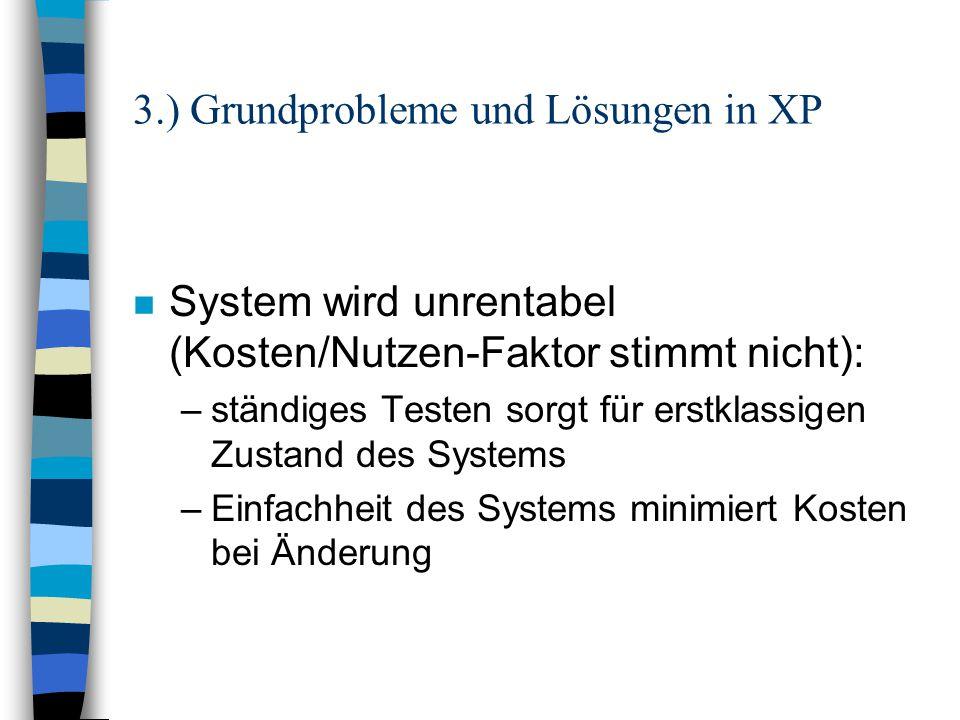 3.) Grundprobleme und Lösungen in XP n System wird unrentabel (Kosten/Nutzen-Faktor stimmt nicht): –ständiges Testen sorgt für erstklassigen Zustand d