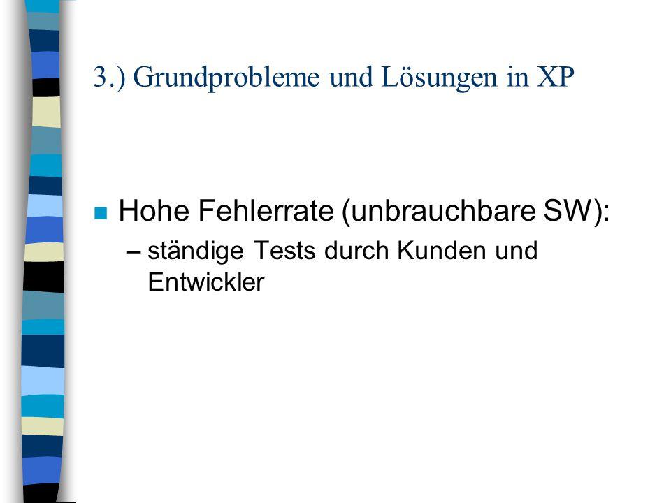 3.) Grundprobleme und Lösungen in XP n falsch verstandenes Geschäftsziel: –der Kunde wird zu starkes Teil des Teams