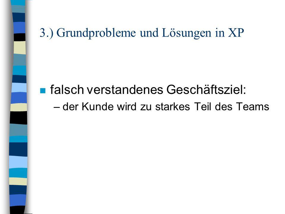 3.) Grundprobleme und Lösungen in XP n Geschäftsziel ändert sich: –kein Problem durch die kurzen Releasezeiten
