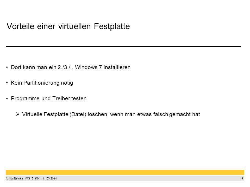 9 Anna Steinke  WG13  Köln, 11.03.2014 Vorteile einer virtuellen Festplatte ______________________________________________________________________