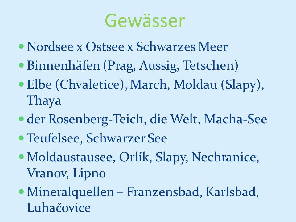Gewässer Nordsee x Ostsee x Schwarzes Meer Binnenhäfen (Prag, Aussig, Tetschen) Elbe (Chvaletice), March, Moldau (Slapy), Thaya der Rosenberg-Teich, d