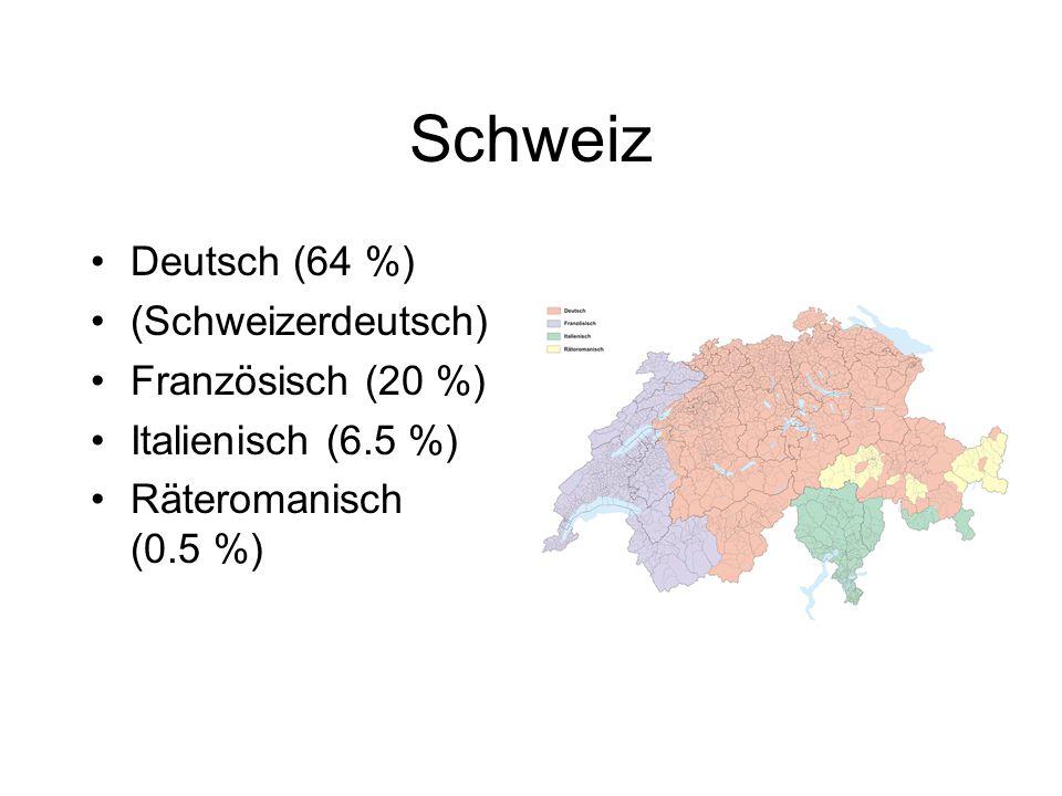 Schweiz Deutsch (64 %) (Schweizerdeutsch) Französisch (20 %) Italienisch (6.5 %) Räteromanisch (0.5 %)
