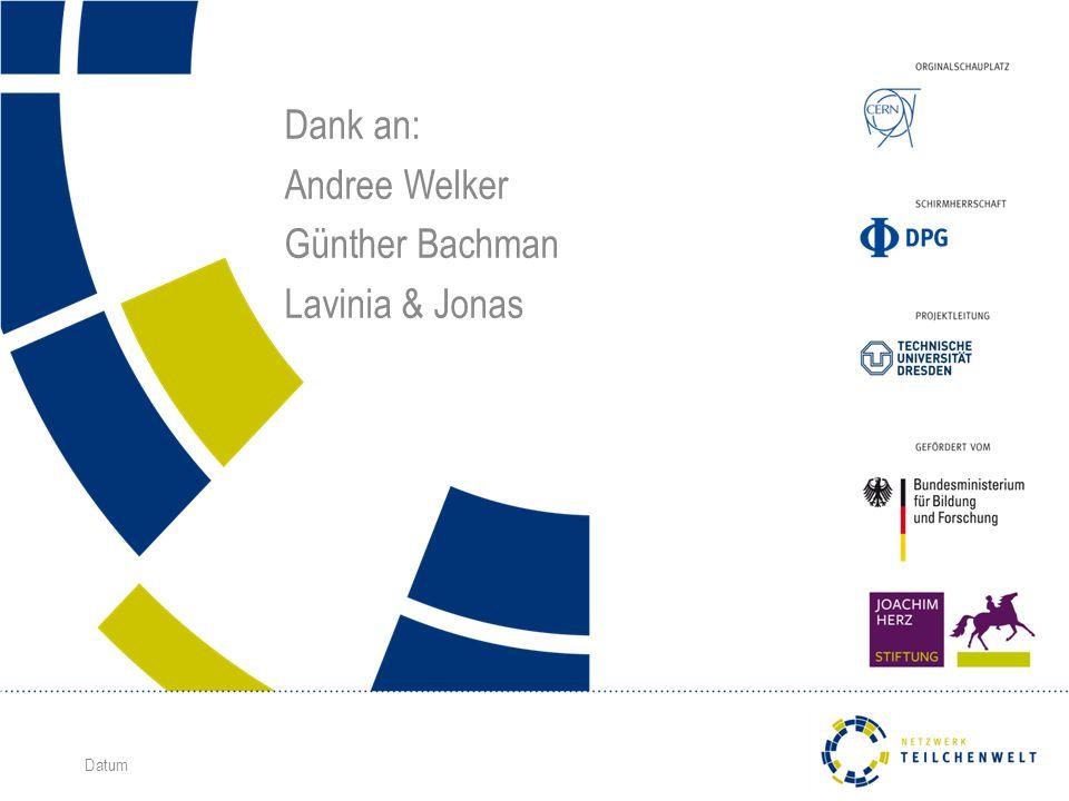 Datum Dank an: Andree Welker Günther Bachman Lavinia & Jonas