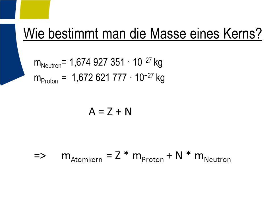 Wie bestimmt man die Masse eines Kerns? m Neutron = 1,674 927 351 · 10 −27 kg m Proton = 1,672 621 777 · 10 −27 kg A = Z + N => m Atomkern = Z * m Pro