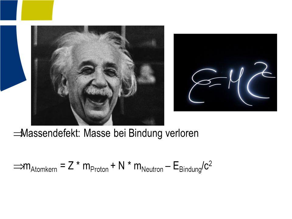  Massendefekt: Masse bei Bindung verloren  m Atomkern = Z * m Proton + N * m Neutron – E Bindung /c 2