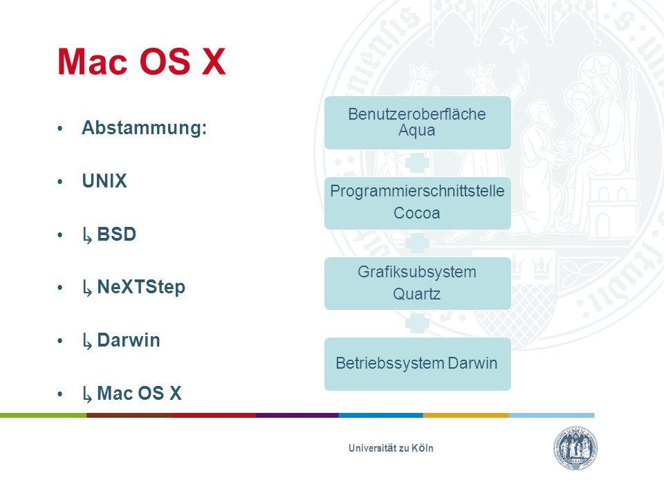 Mac OS X Abstammung: UNIX ↳ BSD ↳ NeXTStep ↳ Darwin ↳ Mac OS X Universität zu Köln Benutzeroberfläche Aqua Programmierschnittstelle Cocoa Grafiksubsystem Quartz Betriebssystem Darwin