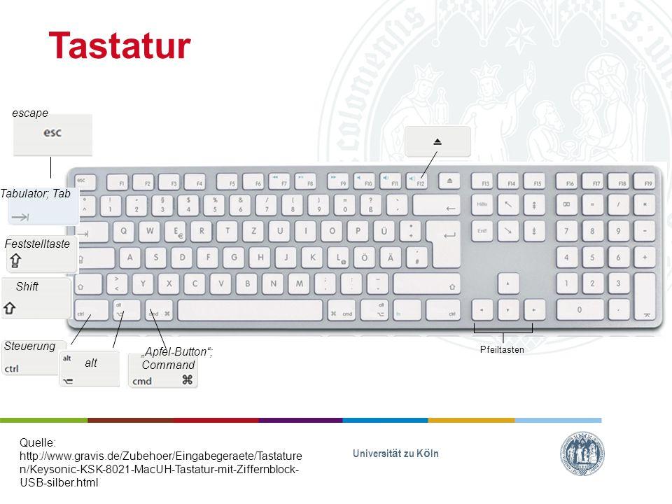"""Tastatur Universität zu Köln Quelle: http://www.gravis.de/Zubehoer/Eingabegeraete/Tastature n/Keysonic-KSK-8021-MacUH-Tastatur-mit-Ziffernblock- USB-silber.html Pfeiltasten escape Tabulator; Tab Feststelltaste Shift Steuerung alt """"Apfel-Button ; Command"""