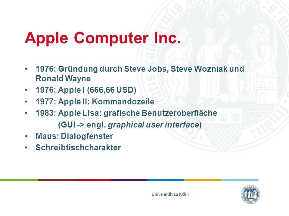 Kompatibilität und Kundenbindung Softwareinstallation nur auf Apple-Hardware erlaubt Systemoptimierung auf Hardware Anschlüsse Kostenlose Software iLife, iWork Stores iCloud, Time Machine Universität zu Köln