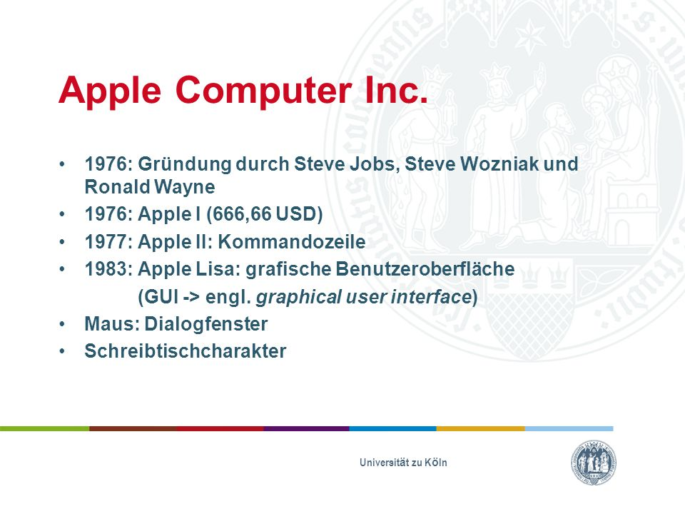 Apple I Quelle: Ed Uthman; https://www.flickr.com/photos/78147607@N0 0/281712899 Apple II Quelle: Marcin Wichary; https://www.flickr.com/photos/mwichary/2151 368358/ Lisa 2 Quelle: Marcin Wichary; https://www.flickr.com/photos/8399025@N07/ 2282602369