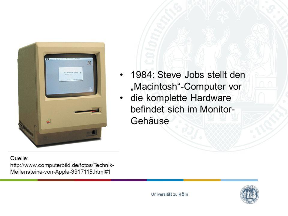 """Universität zu Köln 1984: Steve Jobs stellt den """"Macintosh -Computer vor die komplette Hardware befindet sich im Monitor- Gehäuse Quelle: http://www.computerbild.de/fotos/Technik- Meilensteine-von-Apple-3917115.html#1"""