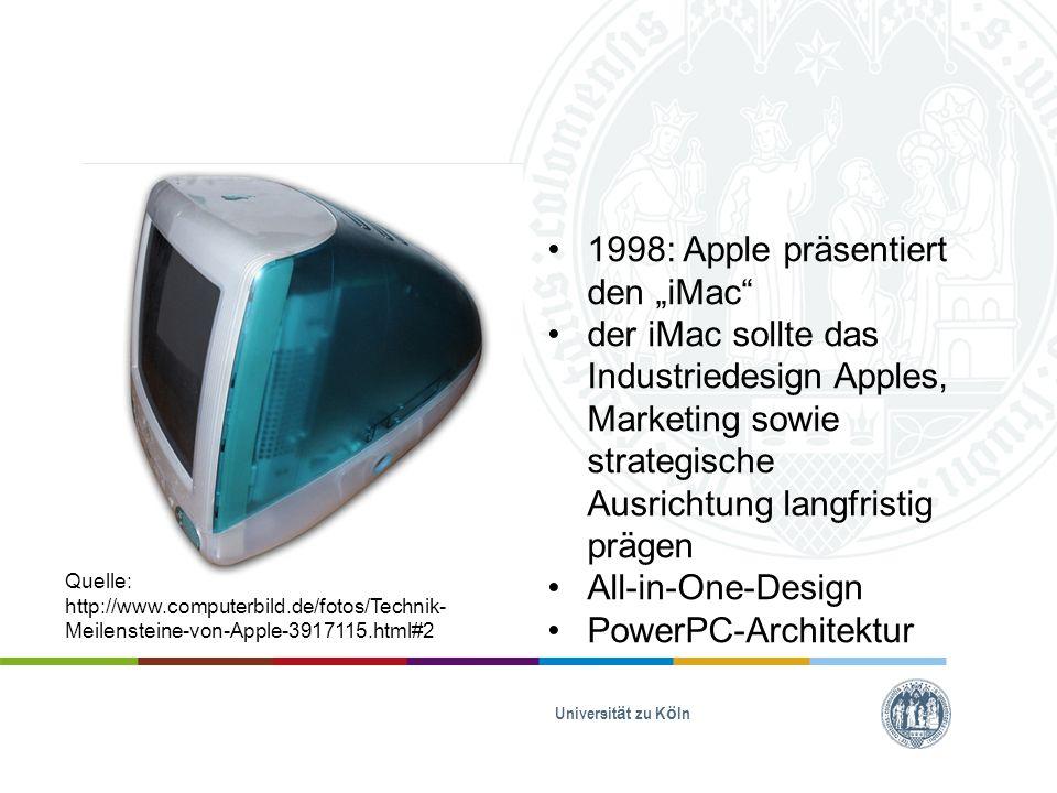 """Universität zu Köln 2009: der """"iMac erscheint als Widescreen-Gerät mit den beiden gültigen Displaygrößen 21,5 – 27 Zoll Aluminiumgehäuse in schlankem Design Quelle: http://www.macwelt.de/galerien/Die-Geschichte-des- Mac-1984-2013-7916949.html?ref=%2Fnews%2FDie- Geschichte-des-Mac-in-Bildern- 7917122.html&container_id=7917122&tcontent=all&bild=35"""