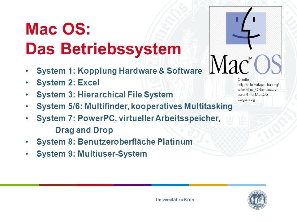 Mac OS: Das Betriebssystem System 1: Kopplung Hardware & Software System 2: Excel System 3: Hierarchical File System System 5/6: Multifinder, kooperatives Multitasking System 7: PowerPC, virtueller Arbeitsspeicher, Drag and Drop System 8: Benutzeroberfläche Platinum System 9: Multiuser-System Universität zu Köln Quelle: http://de.wikipedia.org/ wiki/Mac_OS#mediavi ewer/File:MacOS- Logo.svg