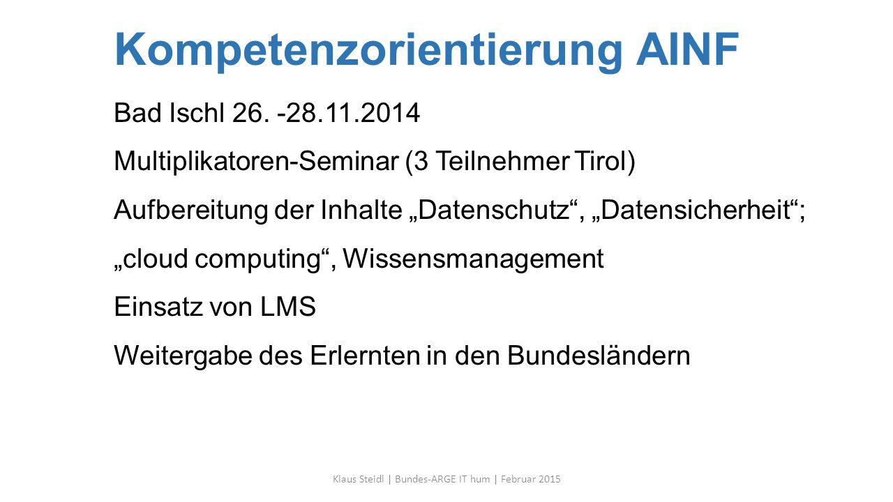 """Kompetenzorientierung AINF Bad Ischl 26. -28.11.2014 Multiplikatoren-Seminar (3 Teilnehmer Tirol) Aufbereitung der Inhalte """"Datenschutz"""", """"Datensicher"""