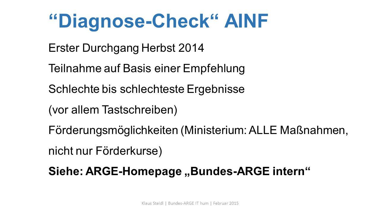 """""""Diagnose-Check"""" AINF Erster Durchgang Herbst 2014 Teilnahme auf Basis einer Empfehlung Schlechte bis schlechteste Ergebnisse (vor allem Tastschreiben"""