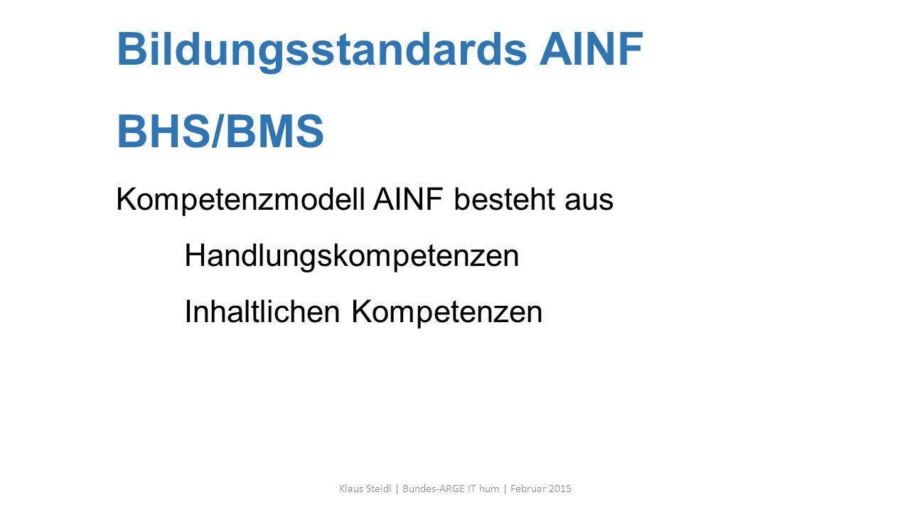 Bildungsstandards AINF BHS/BMS Kompetenzmodell AINF besteht aus Handlungskompetenzen Inhaltlichen Kompetenzen Klaus Steidl | Bundes-ARGE IT hum | Februar 2015