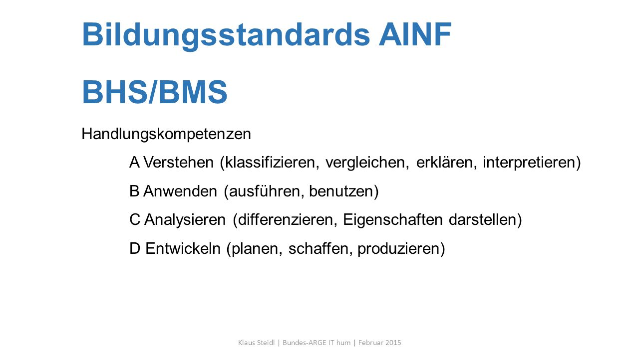 Bildungsstandards AINF BHS/BMS Handlungskompetenzen A Verstehen (klassifizieren, vergleichen, erklären, interpretieren) B Anwenden (ausführen, benutze