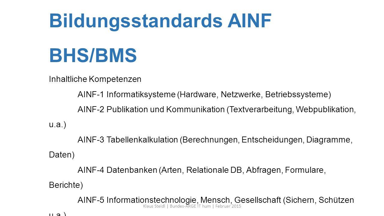 Bildungsstandards AINF BHS/BMS Inhaltliche Kompetenzen AINF-1 Informatiksysteme (Hardware, Netzwerke, Betriebssysteme) AINF-2 Publikation und Kommunik