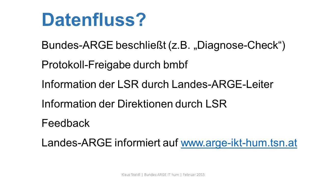 "Datenfluss? Bundes-ARGE beschließt (z.B. ""Diagnose-Check"") Protokoll-Freigabe durch bmbf Information der LSR durch Landes-ARGE-Leiter Information der"