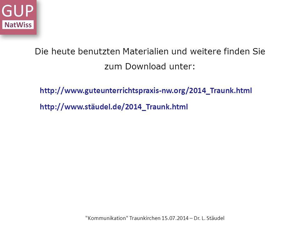 Die heute benutzten Materialien und weitere finden Sie zum Download unter: Kommunikation Traunkirchen 15.07.2014 – Dr.