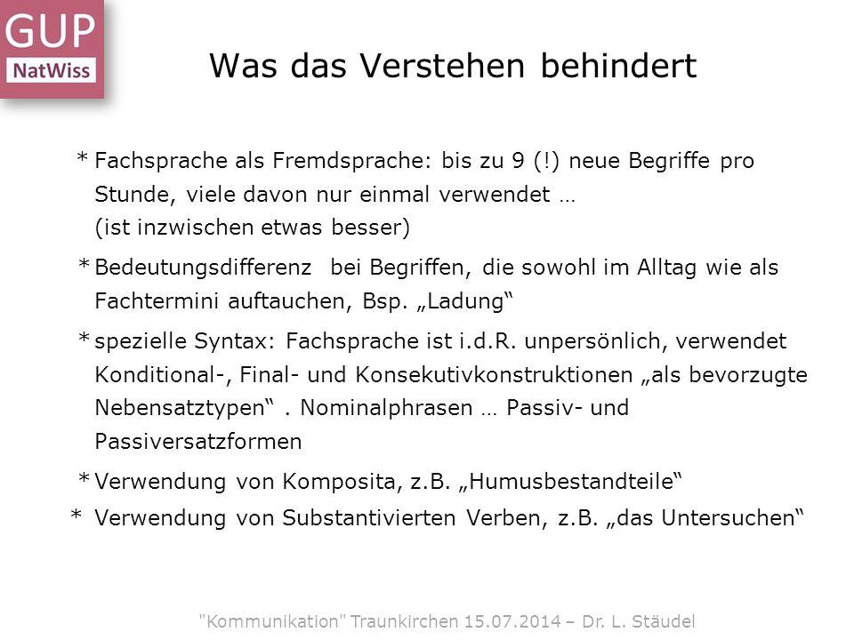 Was das Verstehen behindert Kommunikation Traunkirchen 15.07.2014 – Dr.