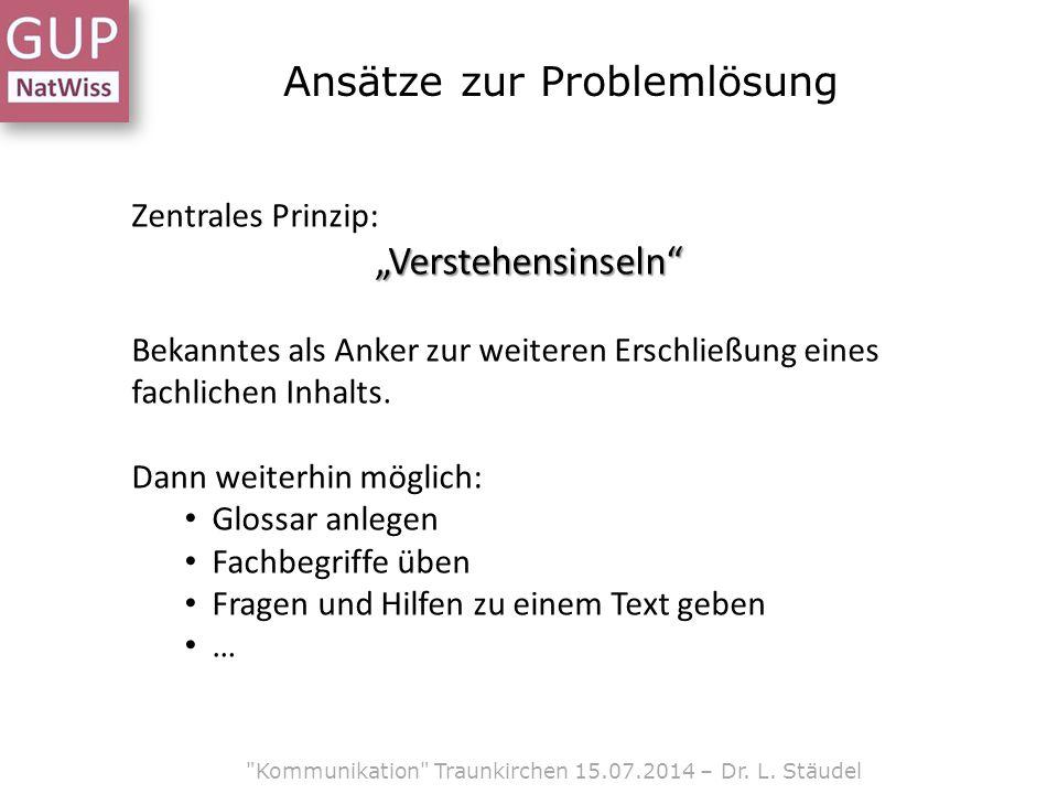 Ansätze zur Problemlösung Kommunikation Traunkirchen 15.07.2014 – Dr.