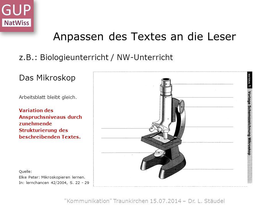 Anpassen des Textes an die Leser z.B.: Biologieunterricht / NW-Unterricht Das Mikroskop Arbeitsblatt bleibt gleich.