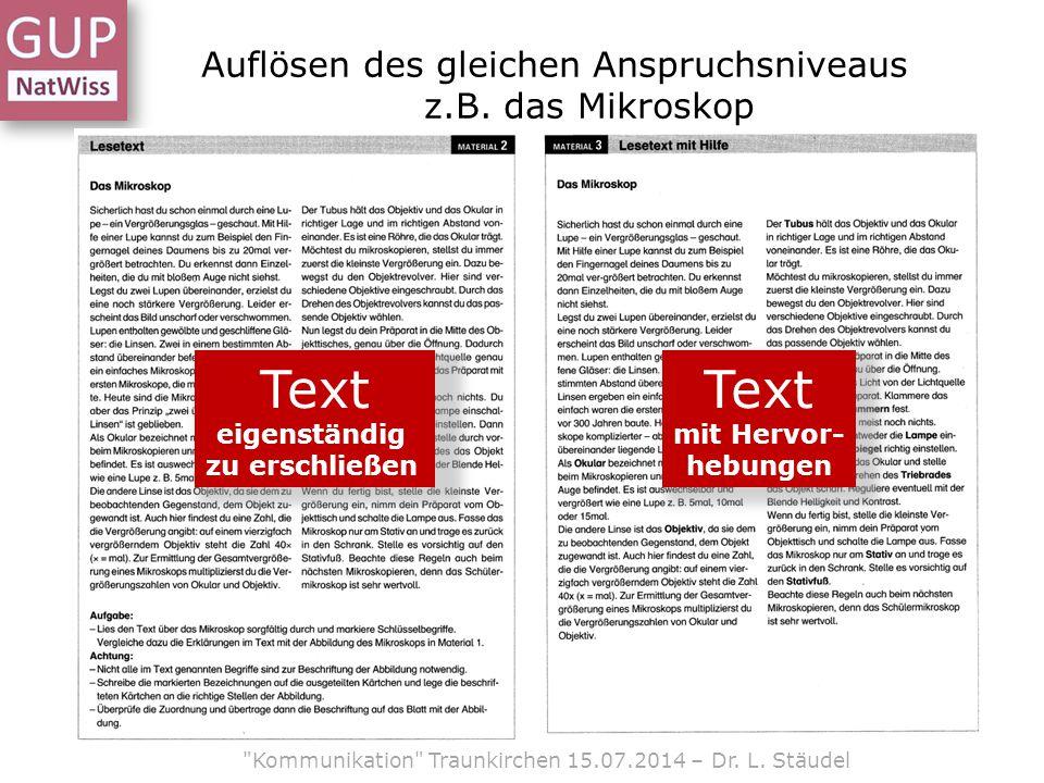 Auflösen des gleichen Anspruchsniveaus z.B. das Mikroskop Text eigenständig zu erschließen Text mit Hervor- hebungen
