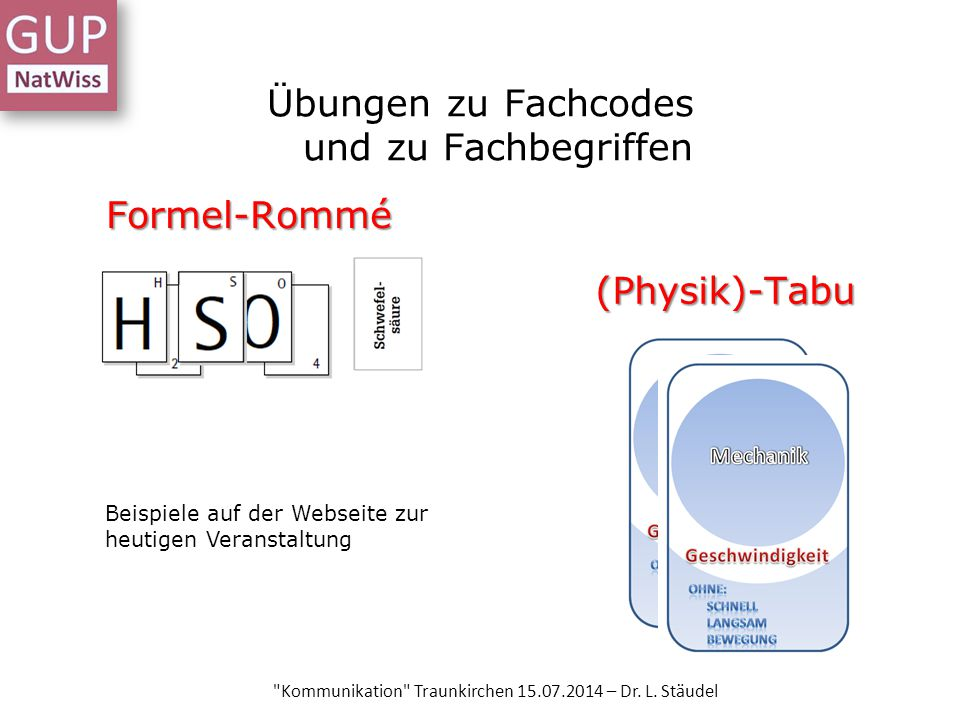 Übungen zu Fachcodes und zu Fachbegriffen Formel-Rommé Kommunikation Traunkirchen 15.07.2014 – Dr.