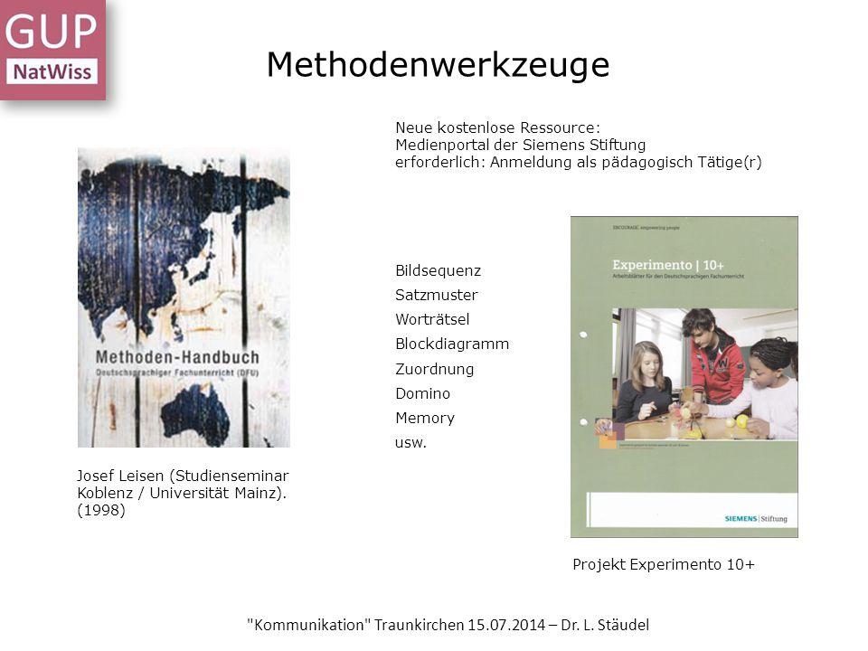 Methodenwerkzeuge Josef Leisen (Studienseminar Koblenz / Universität Mainz). (1998) Projekt Experimento 10+ Neue kostenlose Ressource: Medienportal de