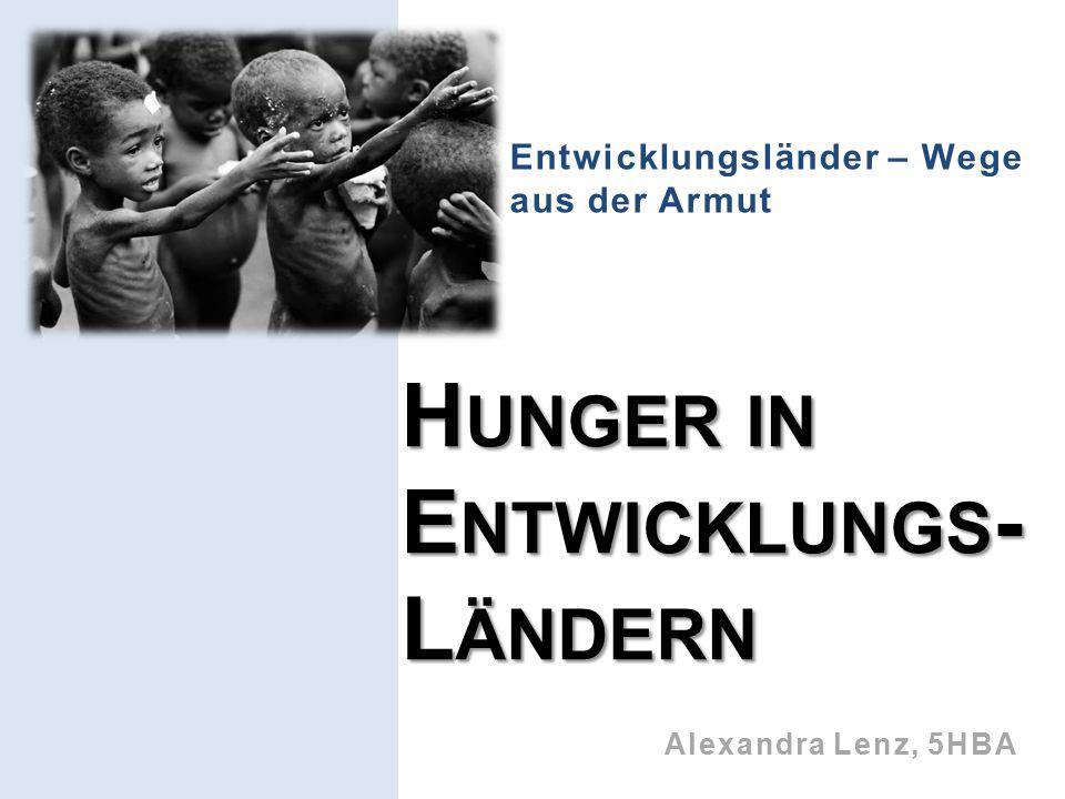 Entwicklungsländer – Wege aus der Armut H UNGER IN E NTWICKLUNGS - L ÄNDERN Alexandra Lenz, 5HBA