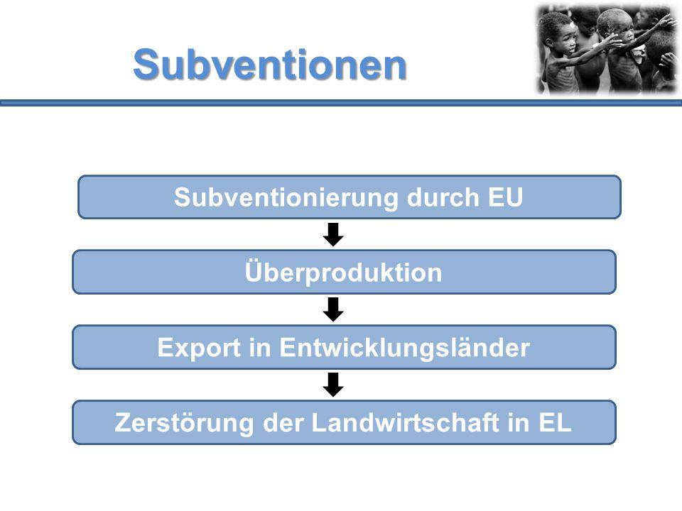 Subventionen Subventionierung durch EU Überproduktion Export in Entwicklungsländer Zerstörung der Landwirtschaft in EL