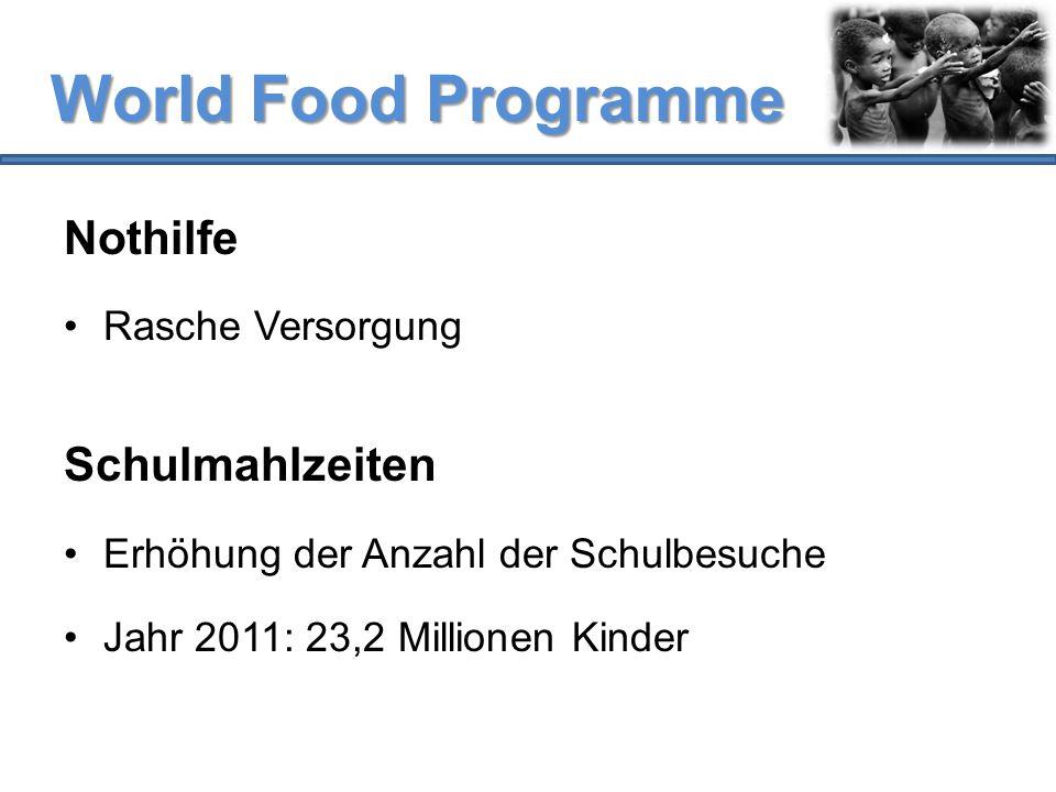 World Food Programme Nothilfe Rasche Versorgung Schulmahlzeiten Erhöhung der Anzahl der Schulbesuche Jahr 2011: 23,2 Millionen Kinder