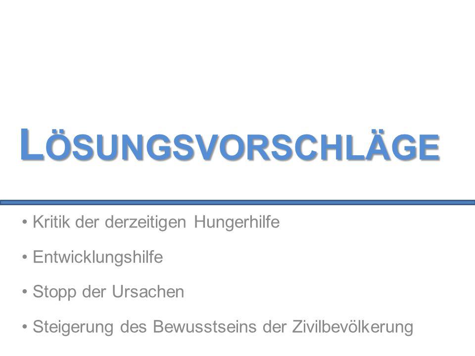 Kritik der derzeitigen Hungerhilfe Entwicklungshilfe Stopp der Ursachen Steigerung des Bewusstseins der Zivilbevölkerung L ÖSUNGSVORSCHLÄGE